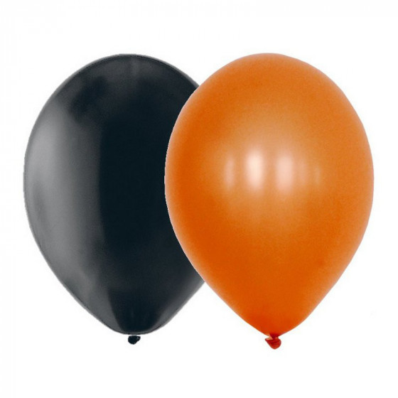 Sachet de 15 ballons latex - assortis noir et orange