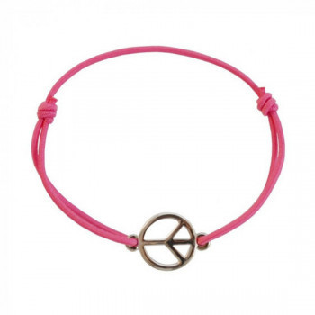 Bracelet Peace & Love rose / argent