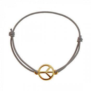 Bracelet Peace & Love gris / or