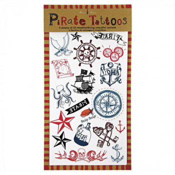 Set de 8 planches de tatouages Pirates