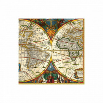 Set de 20 serviettes mappemonde