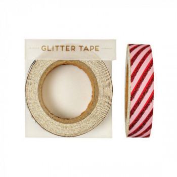 Glitter Tape rayé rouge