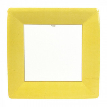 Set de 8 assiettes carrées jaune GM