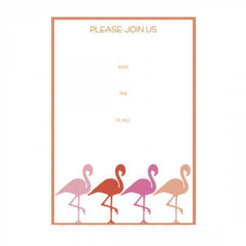 Set de 8 cartes d'invitation Flamant Rose