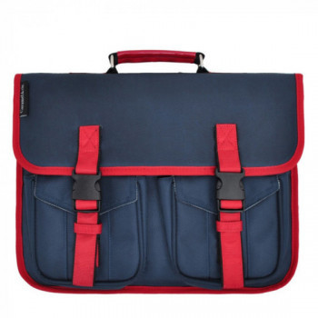 Cartable bleu ganse rouge