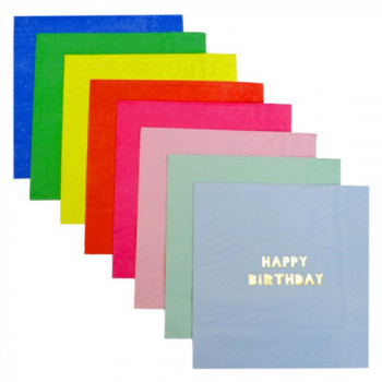 Set de 16 serviettes Happy Birthday