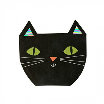 Set de 16 serviettes Chat Noir