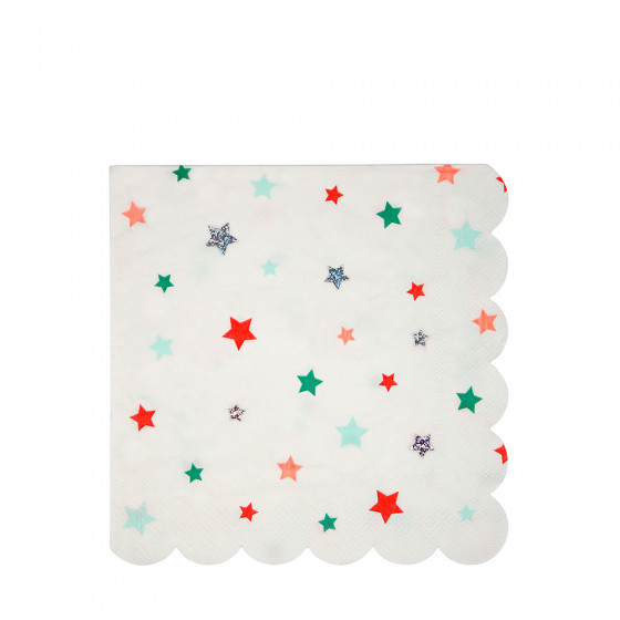Set de 20 serviettes étoiles multicolores GM
