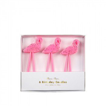 Set de 6 bougies Flamant rose