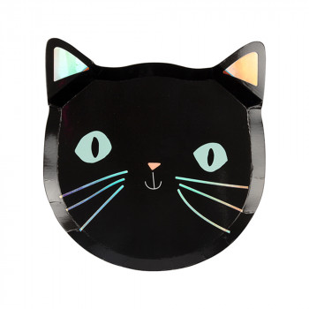 Set de 8 assiettes Chat Noir