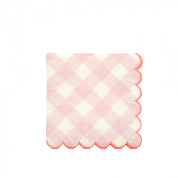 Set de 20 serviettes Vichy rose