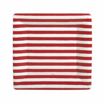 Set de 8 assiettes carrées Stripes GM