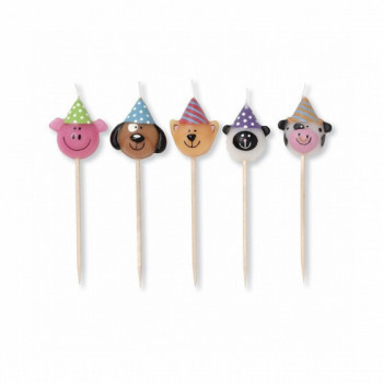 Set de 5 bougies d'anniversaire - Party Heads