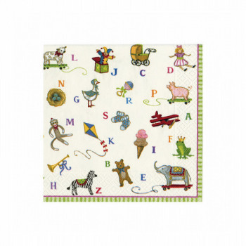 Set de 20 serviettes Alphabet