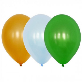Sachet de 15 ballons latex - assortis or, ciel et vert