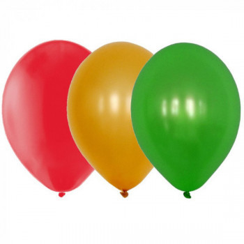 Sachet de 15 ballons latex - assortis rouge, or et vert