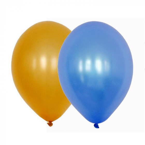 Sachet de 15 ballons latex - assortis or et bleu
